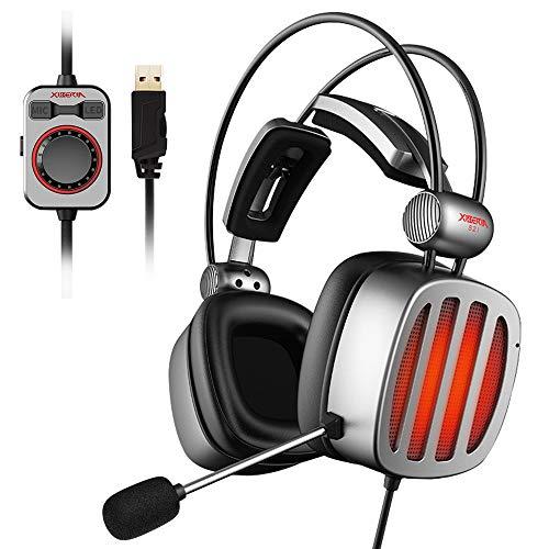 XIBERIA S21 USB Gaming Headset, 7.1 Virtueller Surround PC Kopfhörer, PS4 Gaming Kopfhörer mit LED Licht, Kompatibel mit MAC, Computer, Laptops,