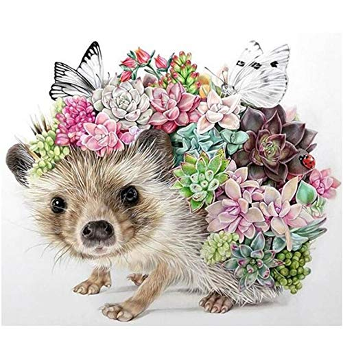 Tatweo 5d DIY Diamond Embroidery Hedgehog Succulent Plants Square Diamond Painting Cross Stitch 5D Mosaic Kits Home Decoratio Square 50x50cm