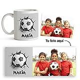 Fotoprix Taza de Plástico Infantil personalizada con foto y nombre | Muy resistente a golpes y rayones | Balón de Fútbol | Varios diseños...