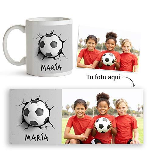 Fotoprix Taza de Plástico Infantil personalizada con foto y nombre | Muy resistente a golpes y rayones | Balón de Fútbol | Varios diseños exclusivos a elegir