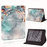 LeDiYouGou para Amazon Kindle 8/10Th 2016 2019 / Kindle Paperwhite 1/2/3/4 Impreso Feather Leather Reader Stand Folio Cover Case Shockproof, Rainbow Feather, For Paperwhite4 10Th Gen