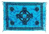 Sarong Pareo Wickelrock Strandtuch Tuch Wickeltuch Handtuch - Blickdicht - ca. 170cm x 110cm - Türkis Blau Batik mit Keltischen Motiv Handgefertigt inkl. Kokos Schnalle in runder Form