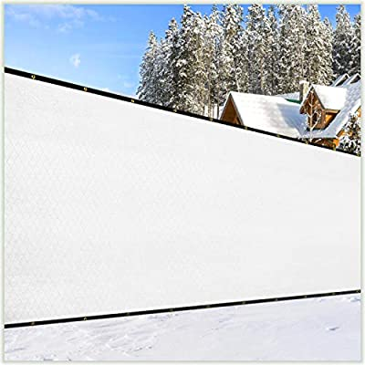 ColourTree 4' x 50' White Fence Privacy Screen Windscreen Cover Fabric Shade Tarp Netting Mesh Cloth - Commercial Grade 170 GSM - Cable Zip Ties Included - We Make Custom Size
