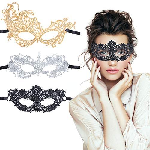 TreatMe Masquerade Mask - 3 Pack Women Venetian Mask Pretty Elegant Lady Masquerade Halloween Mardi Gras Party (Black+Gold+Sliver B)