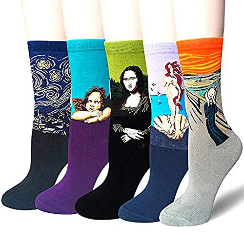 Damen Herren Lustige Bunte Baumwolle Socken Frauen Süß Berühmtes Gemälde Kunst Crew Socken 5 Paar, 5 Paar Crew Socken, 39-45