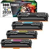 Cool Toner Cartuccia toner Compatibile In sostituzione di HP 203X CF540X CF541X CF542X CF543X Color Laserjet Pro MFP M281fdw M254dw M281fdn M281cdw M254nw (Nero Ciano Giallo Magenta, confezione da 4)