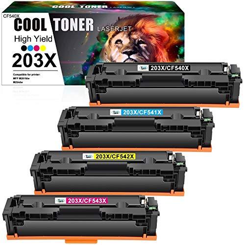 Cool Toner Cartuccia toner Compatibile In sostituzione di HP 203X CF540X CF541X CF542X CF543X Color Laserjet Pro MFP M281fdw M254dw M281fdn M281cdw M254nw (Nero,Ciano,Giallo,Magenta,confezione da 4)