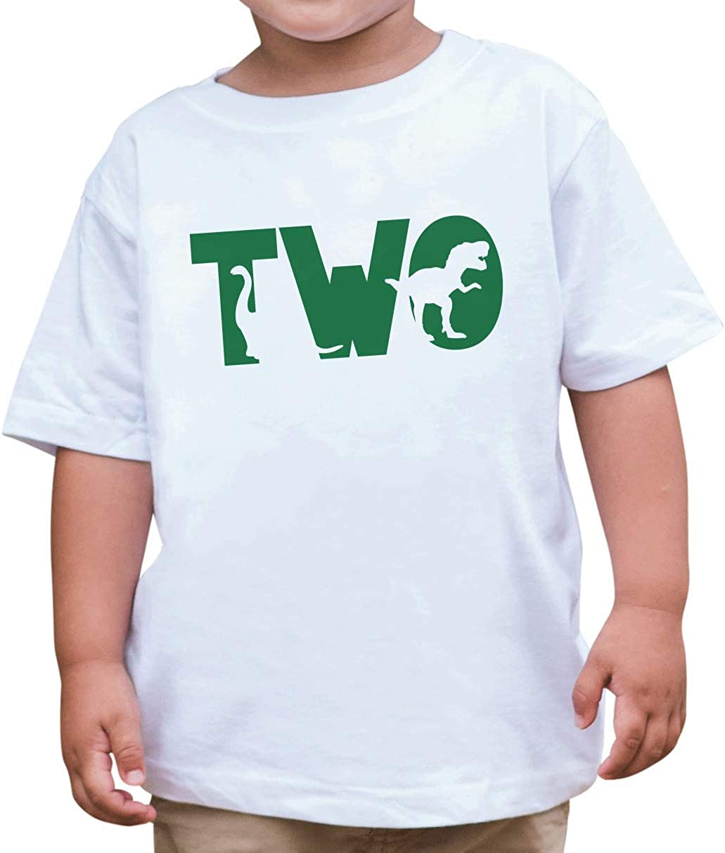 7 ate 9 Apparel Green Two 2 Second 2nd Birthday Dinosaur T-Shirt