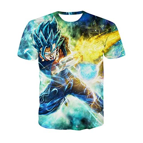 Maglietta Uomo Bambino Maglietta Dragon Ball a Maniche Corte Maglia con Stampa 3D Estate Tee T-Shirt Casuale Elegante Camicia Tops Camicetta Blusa Maglietta da Ragazzo (TX-QLZ-0601, S)
