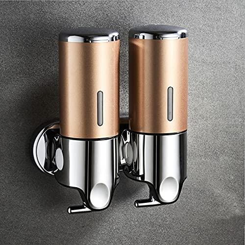 prosfalt 2 Chamber Wall Mounted Bathroom Shower Pump Dispenser and Organizer-Holds Shampoo, Soap, Conditioner, Shower Gel, for Bathroom Kitchen Hotel (Gold 2 Chamber)