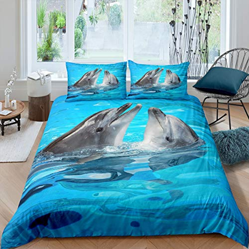Erosebridal Kid Dolphin Bedding Set, Cute Dolphin Duvet Cover, Marine Life Comforter Cover, Blue Wave Decor Lightweight Soft Polyester Quilt Cover 1 Duvet Cover with 2 Pillow Cases Queen Size