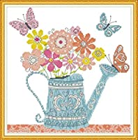 クロスステッチ刺繍キット、ケトル家の装飾ギフト用のDIY子供用初心者アート印刷パターン刺繍キット(11CT 40X50cm)