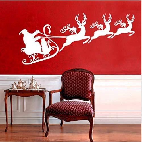 Rentiere Mit Santa Schlitten Silhouette Wandbild Weihnachtsferien Wandkunst Aufkleber Kinderzimmer Home Wanddekoration Abziehbilder 50 * 109Cm