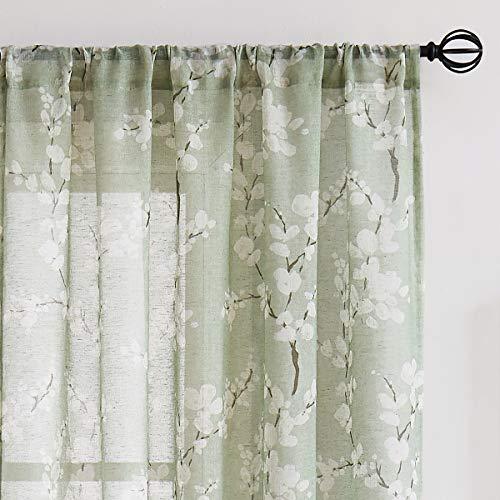 "Fmfunctex Green Sheer Curtains for Living-Room White Blossom Print on Flax Linen Blend Window Drapes 63"" 2 Panels, Sage, Rod Pocket"