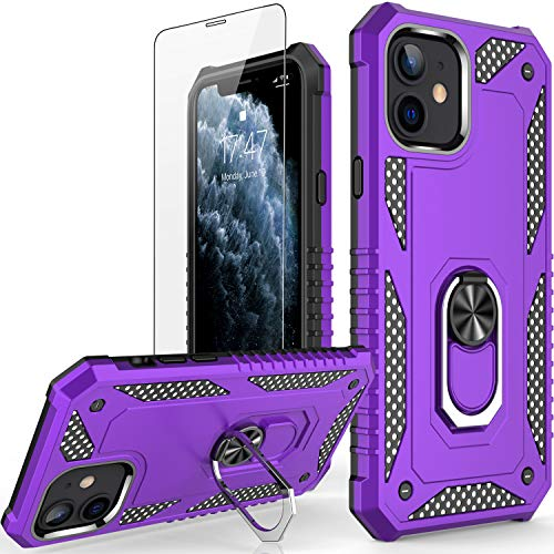 CCKO iPhone 11 Case with Screen Protector,Shock-Proof Cover with Magnetic Car Mount Kickstand,Rugged Protective Phone Case Compatible with Wireless Charging for Apple iPhone 11 6.1' Purple
