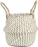 7WUNDERBAR Seagrass Basket Maceta Cesta de Flores de Paja Cesta de lavandería Cesta de Almacenamiento Plegable Grande con asa para la habitación de los niños Baño (C)