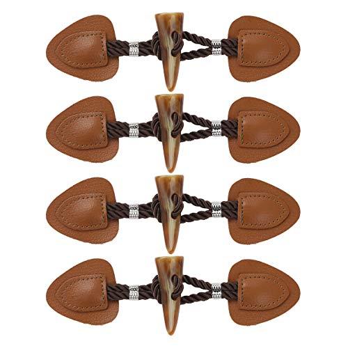 inlzdz 4 Paar PU Leder Knebelknöpfe Dufflecoat Verschluss mit Kordel und Harz knebel für Mantel, Jacke, Kleidung, Dekoration Braun B One Size