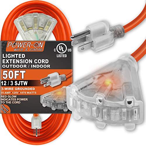 Kasonic 50 Feet 3 Outlet 12/3 SJTW Outdoor Extension Cord - UL Listed; 15Amp 125V 1875 Watts; Heavy Duty; Red Glow Indicates; Power-On Series (Orange)