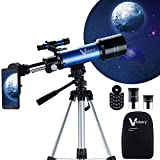 Vanstarry Telescopes for Kids, Travel Kids Telescope, 70mm Aperture 400mm AZ Mount Astronomical Refractor Telescopes for Adults Astronomy Beginners, Portable Travel Telescopes with Carry Bag