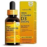 Vitamine D *10000 UI pour 10 Gouttes* – Végétale -Dosage Flexible jusqu'à 2000 Gouttes de Vitamine D3 1000 UI par Flacon – Cholécalciférol pour des os et un Système Immunitaire en Bonne Santé
