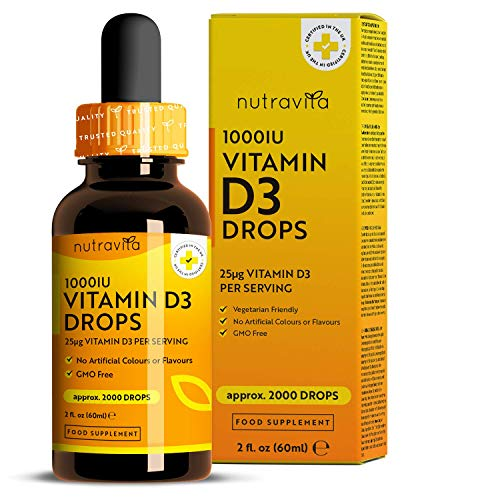 Vitamina D3 Gotas 1000UI - Liquida Gotas Altamente Dosificadas - Colecalciferol Vegetariano - 60ml con 2.000 Gotas a 1.000 UI por Gota - Suplementos Alimenticio sin Aditivos - Fabricado por Nutravita