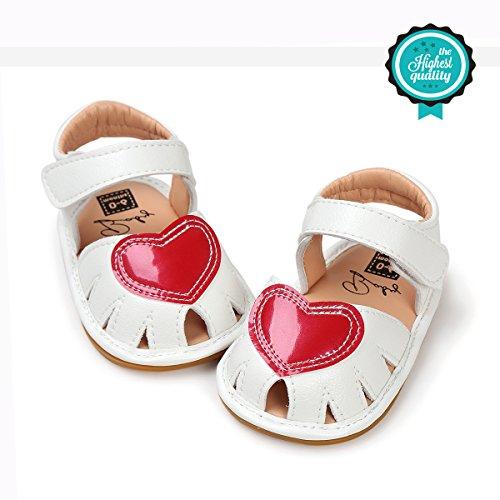 Baby Schuhe, Morbuy Sommer Fashion Herzform Sandalen Mädchen Neugeborene Anti-Rutsch Weiche Alleinige Kleinkind Schuhe Krabbelschuhe Wanderer Weiche Alleinige Schuhe (11cm / 0-6 Monat, Weiß)