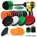 JUSONEY 23 Piece Drill Brush Attachment Set Power Scrubber Kit, Scrub Brush with Extend Long Attachment, Scrubing Pads Cleaning Kit for Tile Sealants, Bathtub, Sinks, Floor, Wheels, Carpet