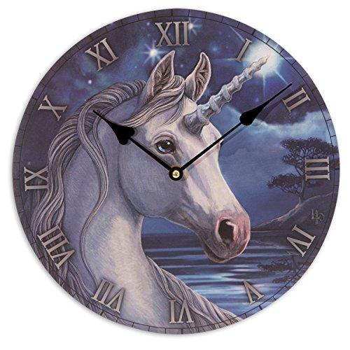 FEERIES ET MERVEILLES Horloge Licorne, Statuette Licorne, Figurine Licorne (30 x30 cm)