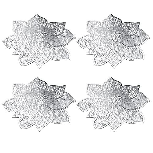 HUIKJI 4 manteles individuales con diseño de flores, color plateado, antideslizantes, lavables, para decoración de mesa de comedor, vacaciones, boda, centro de mesa