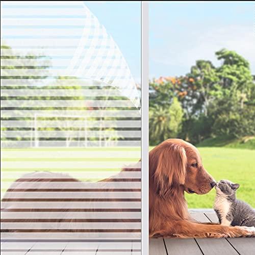 KINLO Fensterfolie Milchglasfolie Statisch Haftend Sichtschutzfolie Streifen Glasdekorfolie 90x200cm Privatsphaere Selbstklebend Klebefolie PVC Anti UV sichtschutz Fenstersticker Fenster Folie
