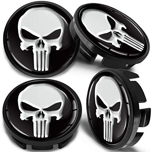 SkinoEu 4 x 65mm Tapas de Rueda de Centro Centrales Llantas Aluminio Compatibles con Tapacubos Número de Pieza 3B7601171 / 6U7601171 Negro Cráneo CV 35