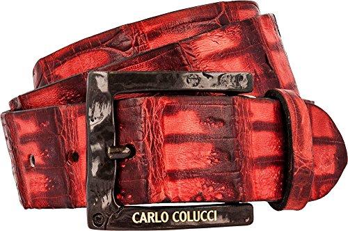 Carlo Colucci Eleganter Gürtel aus echtem Kaimanleder Rot 90cm