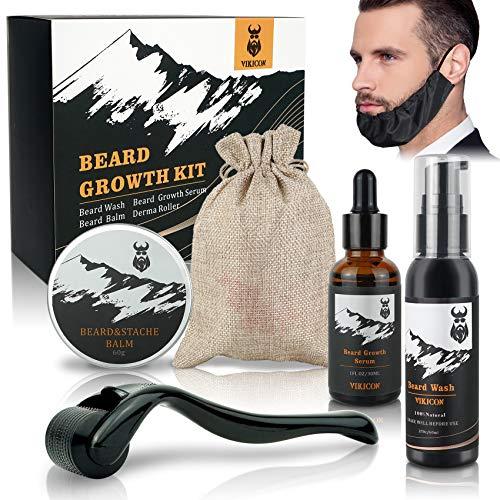 VIKICON Kit per la Crescita Della Barba con Copri Barba, Lava la Barba,...