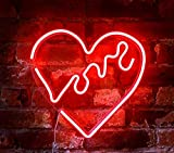 "Isaac Jacobs 14"" x 14"" inch LED Neon Red ""Love"" Heart Wall Sign for Cool Light, Wall Art, Bedroom Decorations, Home Accessories, Party, and Holiday Decor: Powered by USB Wire (Heart) led bar Apr, 2021"