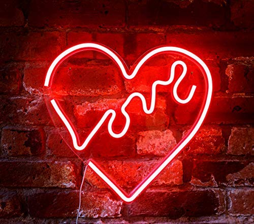 "Isaac Jacobs 14"" x 14"" inch LED Neon Red ""Love"" Heart Wall Sign for Cool Light, Wall Art, Bedroom Decorations, Home Accessories, Party, and Holiday Decor: Powered by USB Wire (Heart)"
