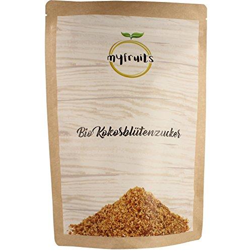 myfruits goldener Bio Kokosblütenzucker - 1kg Big Pack / Nachfüllpack DE-ÖKO-003 feinkörnig. Natürliche Zuckeralternative. Abgefüllt in Deutschland - finest superfood (1000g)