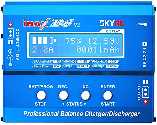 YUNIQUE ESPANA SKYRC iMAX B6 V2 Cargador de 60 W 6 A Convertidor CC/CC Compatible con DJI Mavic Inspire Batería Inteligente NiMH/NiCd/LiPo/LiHV/Life/Li-Ion/Pb