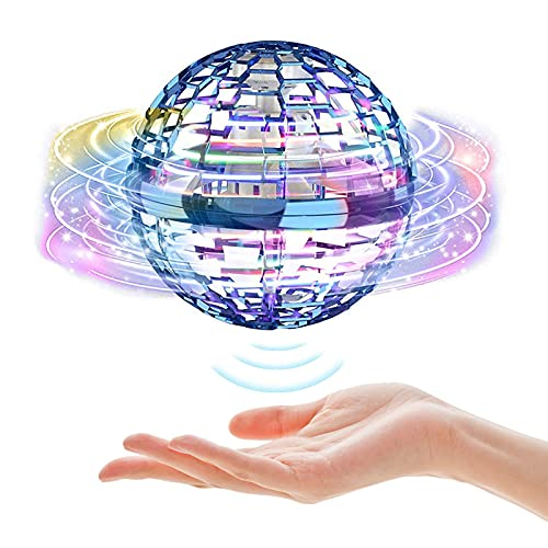 CJHZQYY Dron Flying Ball con forma de globo mini dron volador con luces LED brillantes, recargable 360 ° pelota Flying Spinner para niños, adultos, interiores y exteriores
