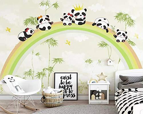 Kinderkamer achtergrond behang muurschildering regenboog bos panda foto behang muurschildering (H)400*(B)280cm Pro