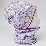 Fleece Loop Schal & Mütze SET | Blumen Vögel lila flieder | Mädchen für 4-5 - 6-7 - 8 Jahre Kinder warm gefüttert Beanie Kombination