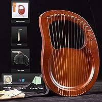 19弦の小さなハープの金属弦マホガニーLyeハープ、初心者の音楽愛好家のための鍵と黒のギグの袋の大きな贈り物 (Color : Brown)