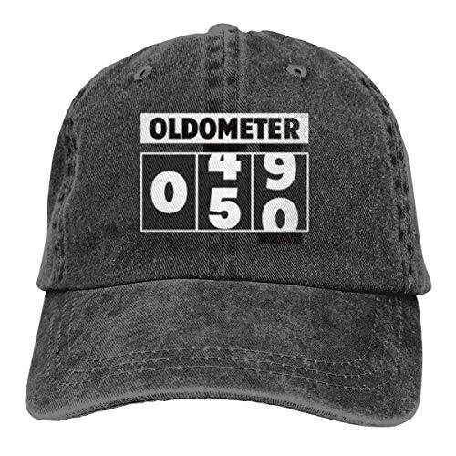 XCNGG Oldometer Unisex Sombreros de Vaquero Deporte Sombrero de Mezclilla Gorra de béisbol de Moda Negro