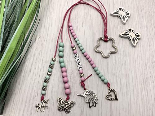 Rechenkette Mädchen rosa türkis Name, Einschulungsgeschenk, Zählschnur, optionales Armband