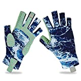 BARCHI HEAT Fishing Gloves,Men Women Cycling UV Protection UPF50+ Gloves,Touch Screen Fingerless Non-Slip Cooling Gloves for Kayaking,Hiking,Paddling,Fitness,Workout,Driving,Golf