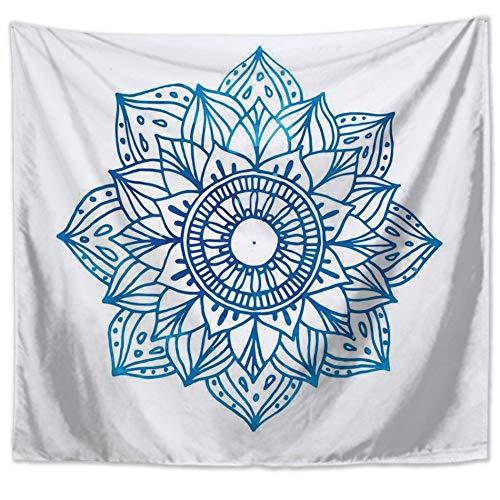 Tapiz De Pared,Línea Simple De Mandala Flor Planta,Home Decoraciones Para Salón Multi Color Bohemio Hippie Indio Mandala Dormitorio Dormitorio Decoración Cortina Estera De Picnic,130X150Cm(52X