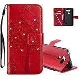 COTDINFOR LG V30 Hülle für Mädchen Elegant Retro Premium PU Lederhülle Handy Tasche mit Magnet Standfunktion Schutz Etui für LG V30 Red Wishing Tree with Diamond KT.