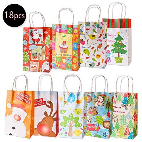 18pz Bolsas de Regalo Navideños Bolso de Papel de Las Compras 9 Modelos 21,5 cm * 13,5 cm * 8 cm con Asa Diseño...