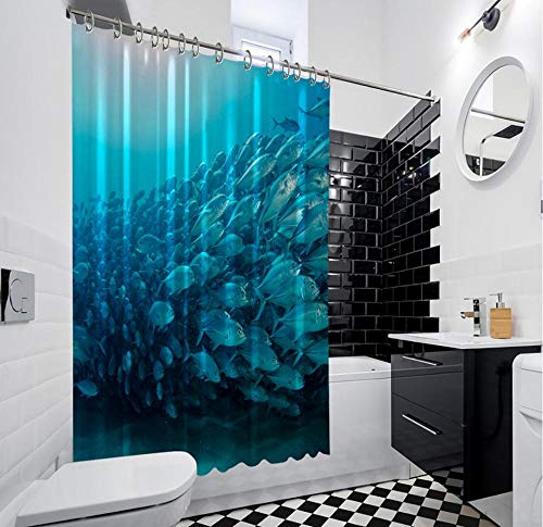 QAQA Onderwater Leven Vis Big Eye Park Zee Aquarium Foto Blauw Douche Gordijn 1.8cm*2m Met haak