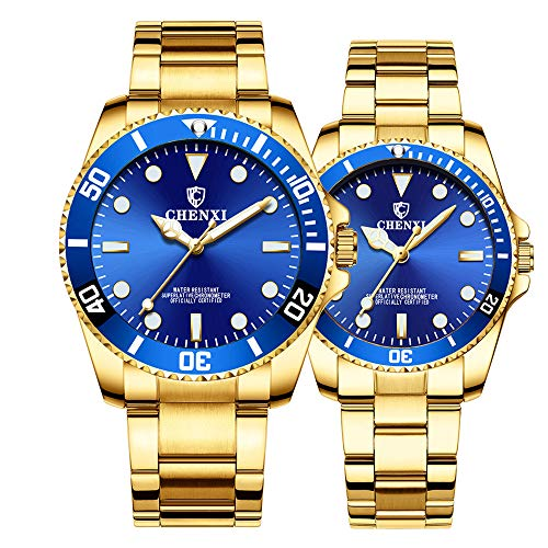 Couple Watches Classic Golden Stainless Steel Watch His and Hers Waterproof Quartz Watch(Gold Blue)