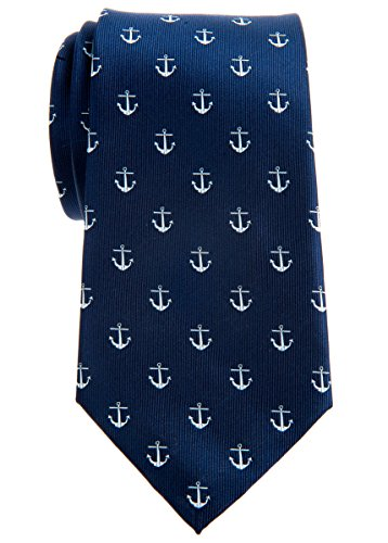 Corbata de anclas clásica de Retreez, tejido microfibra, varios colores, 8 cm Azul azul marino Talla única